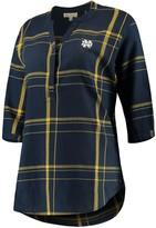 Unbranded Women's Navy Notre Dame Fighting Irish Missy Cotton Plaid Tunic Shirt