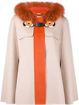 Fendi trim hooded coat