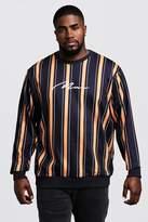 BoohooMAN Big & Tall Stripe MAN Signature Sweater