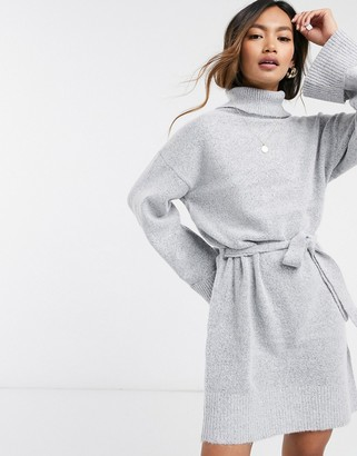 Vila roll neck sweater dress with tie waist in gray