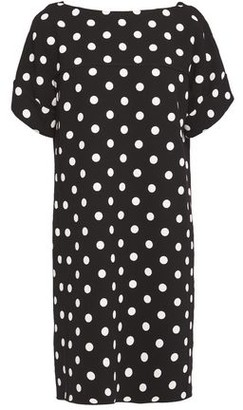 Oscar de la Renta Bow-detailed Polka-dot Wool-blend Crepe Mini Dress
