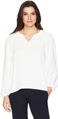 Kasper Women's Plus Size Long Sleeve Light Weight Crepe Blouse