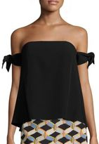 Milly Jade Off-the-Shoulder Tie Sleeve Top