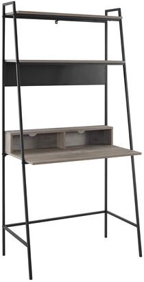 Hewson 36In Mid-Century Modern Wood Ladder Computer Desk