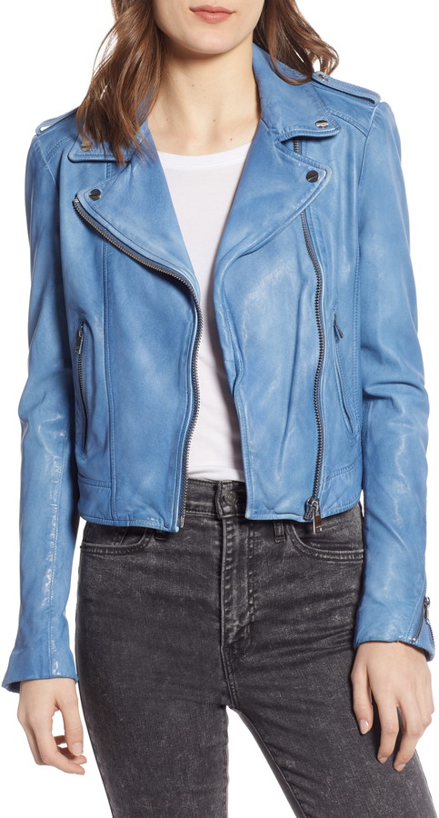 853ea8048 Donna Lambskin Leather Moto Jacket