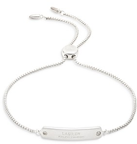 Ralph Lauren Ralph Diamond Accent Logo Dog Tag Slider Bracelet in Sterling Silver