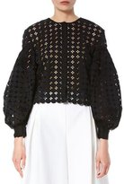 Carolina Herrera Crochet Balloon-Sleeve Jacket, Black