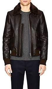 Officine Generale Men's Leather & Shearling Bomber Jacket - Brown