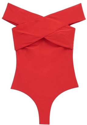 Casa Raki - Paula Off-the-shoulder Swimsuit - Red