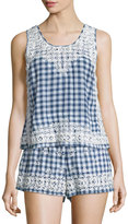 Calypso St. Barth Yunes Embroidered Check-Print Top, Navy
