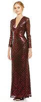Tadashi Shoji Deep V-Neck Long Sleeve Sequin Gown