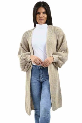 EASY BUYY Womens Slouchy Oversized Balloon Sleeve Knitted Boyfriend Cardigan Warm Coat Pullover Sweater (12-14