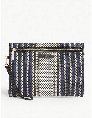 Ted Baker Evviiee woven faux-leather clutch