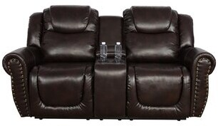 """Thumbnail for your product : Red Barrel Studio Haili 86"""" Faux Leather Rolled Arm Reclining Loveseat"""