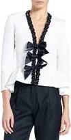 Carolina Herrera Embellished Bow-Front Peplum Jacket