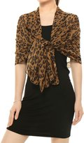 uxcell® Women Rectangle Sheer Chiffon Leopard Prints Shawl