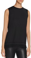 DKNY Sleeveless Fringe Hem Top