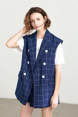 J.ING Cobalt Blue Grid Vest