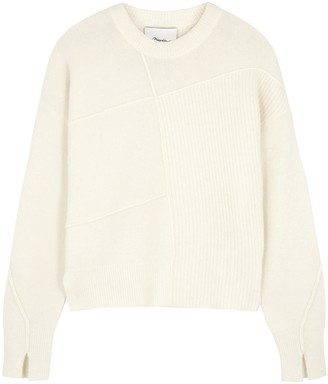3.1 Phillip Lim Lofty ivory panelled knitted jumper