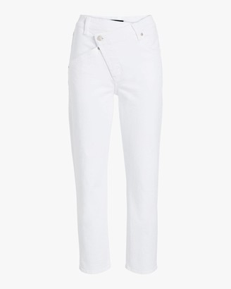 7 For All Mankind Asymmetric High Waist Cropped Straight Jeans