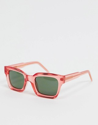 A.Kjaerbede square sunglasses in red with concave lens
