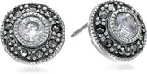 Judith Jack Sterling Cubic Zirconia with Marcasite Pave Stud Earrings