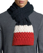 Moncler Cashmere Mixed-Knit Scarf, Navy/Red/White