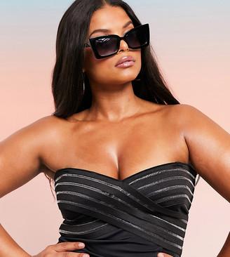 ASOS DESIGN CURVE SWIM GLAM elastic cross front bandeau swimsuit in black