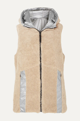Bogner Fire & Ice Peggy Reversible Hooded Faux Shearling And Quilted Metallic Shell Vest