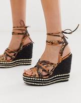 Asos Design DESIGN Josephina tie leg espadrille wedges in snake