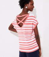 LOFT Striped Criss Cross Back Dolman Sweater