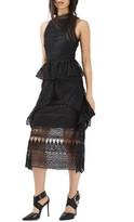 Topshop Women's Ruffle Lace Midi Dress