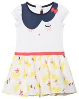 Catimini White Lemon and Pelican Print Jersey and Woven Dress