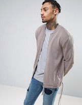 Asos Jersey Bomber Jacket With Taping & Drawcord Hem In Wash