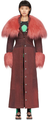 Marine Serre SSENSE Exclusive Burgundy Patchwork Coat