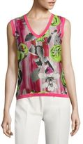 Versace Floral V-Neck Top