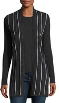 Neiman Marcus Chain-Striped Cashmere Cardigan