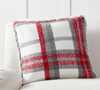 Pottery Barn Graham Plaid with Faux Fur Back Pillow Cover