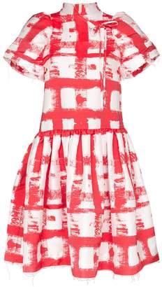 Shushu/Tong checked raw edge mini dress