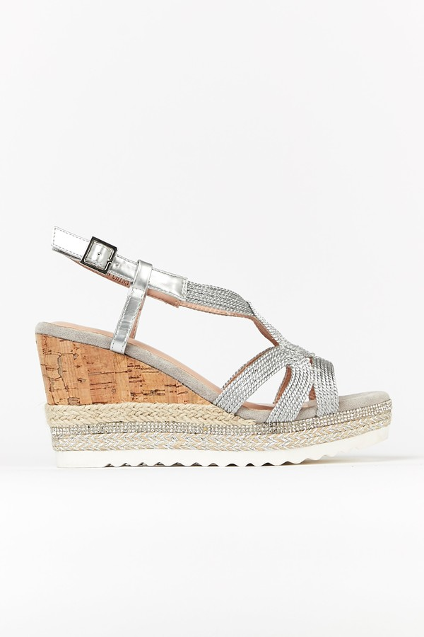 Wallis Silver Diamante Swirl Wedge Sandal