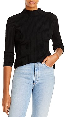 Aqua Mesh Trim Mock Neck Sweater - 100% Exclusive