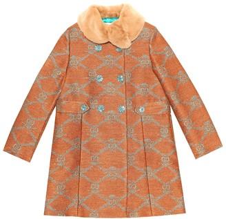Gucci Kids GG jacquard linen-blend coat