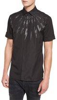Neil Barrett Tonal Thunderbolt Short-Sleeve Shirt, Black