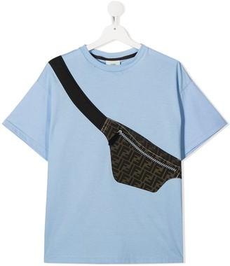Fendi Kids TEEN bag print cotton T-shirt
