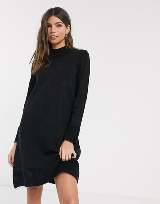 Esprit ribbed high neck knitted dress-Black
