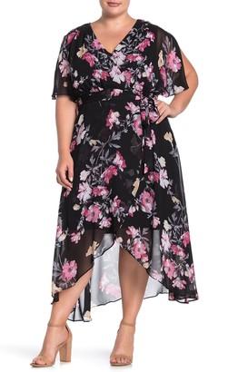 Eliza J Floral Print High/Low Dress