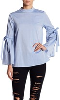 Blvd Mock Neck Bell Sleeve Blouse