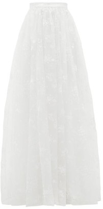Erdem Lydell Floral-embroidered Organza Skirt - Womens - White