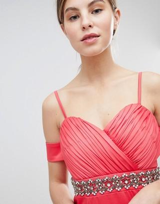 Little Mistress Off Shoulder Maxi Dress With Embellished Waist
