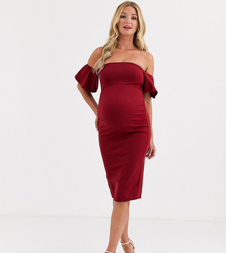 True Violet Maternity Bardot Midi Dress With Frill Sleeves